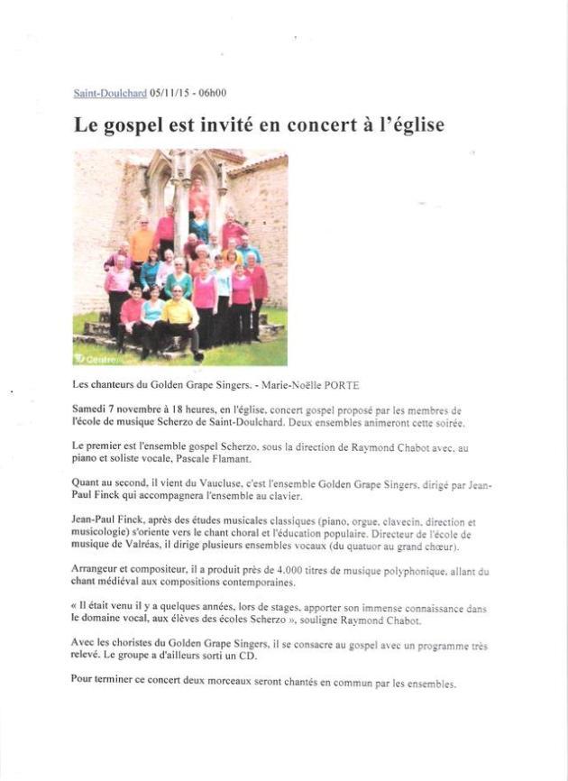 16) 5 novembre annonce de notre concert à st doulchard