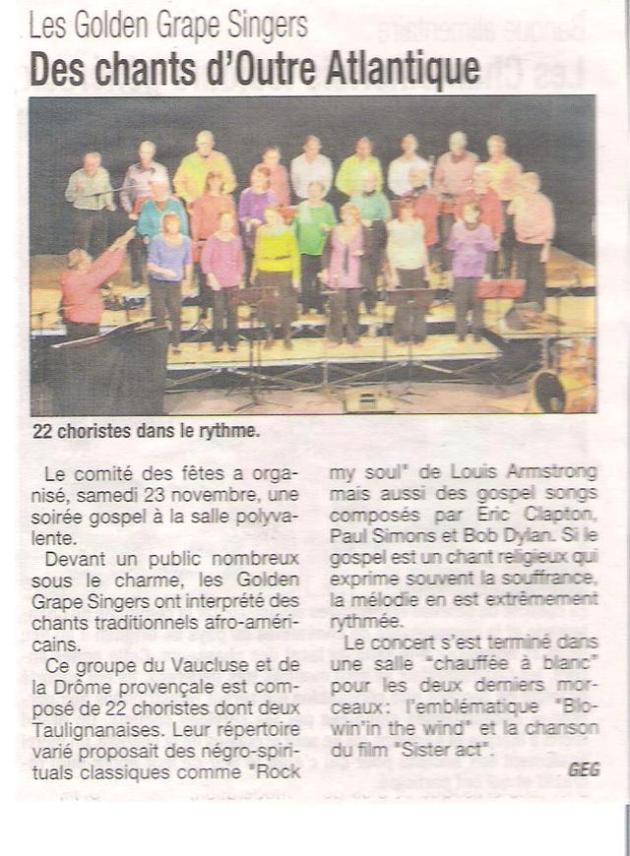 16 photo et article aprés notre concert à taulignan(la tribune)